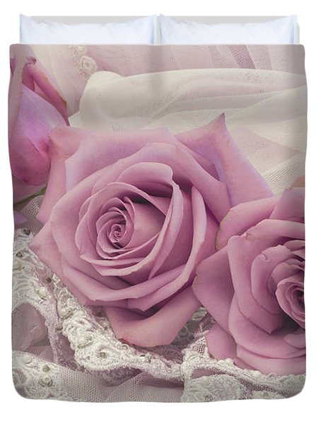 Roses And Beaded Lace Duvet Cover by Sandra Foster