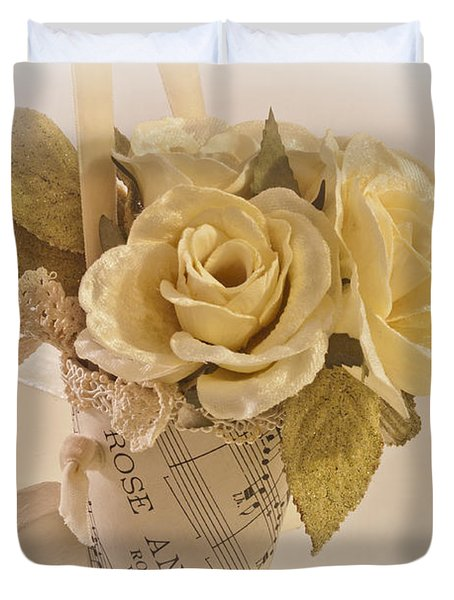 Roses And Butterfly Posy  Duvet Cover by Sandra Foster