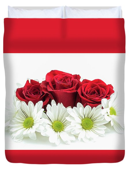 Roses And Daisies Duvet Cover