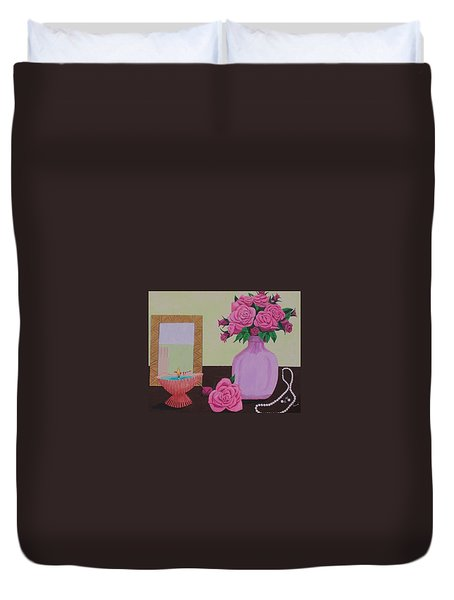 Roses And Pearls Duvet Cover