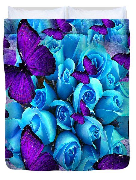 Roses And Purple Butterflies Duvet Cover by Saundra Myles