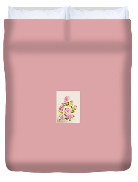 Duvet Cover featuring the painting Roses Are Forever 2 by Asha Sudhaker Shenoy