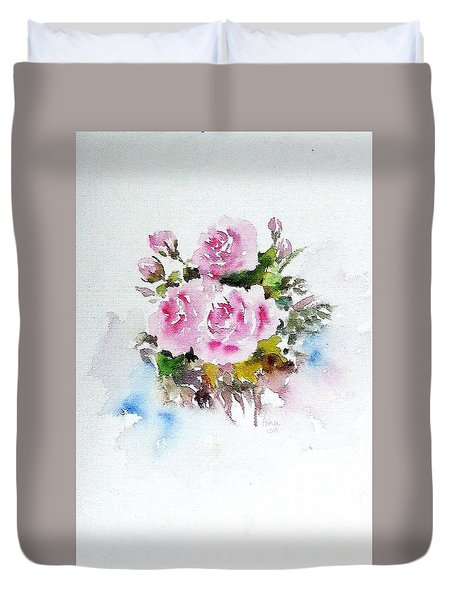 Duvet Cover featuring the painting Roses Are Forever 3 by Asha Sudhaker Shenoy