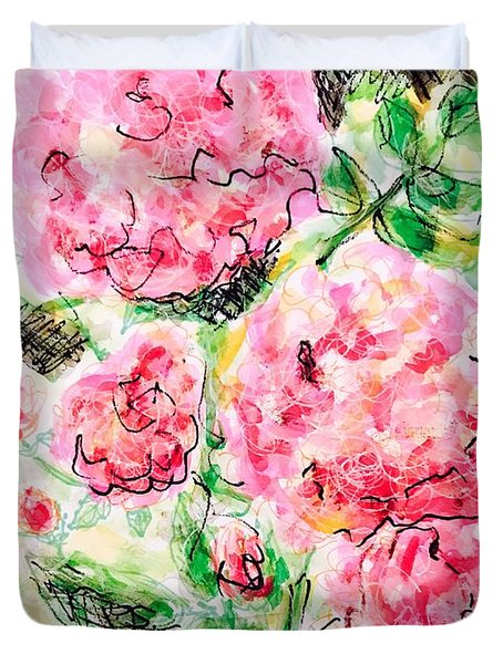 Duvet Cover featuring the painting Roses Are Pink by Monique Faella
