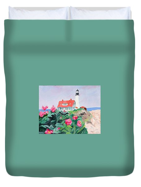 Roses At Portland Headlight Duvet Cover