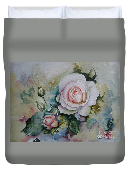 Duvet Cover featuring the painting Roses by Elena Oleniuc