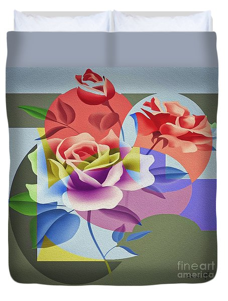 Duvet Cover featuring the digital art Roses For Her by Eleni Mac Synodinos