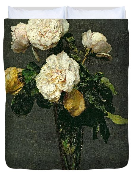 Roses In A Champagne Flute Duvet Cover by Ignace Henri Jean Fantin-Latour