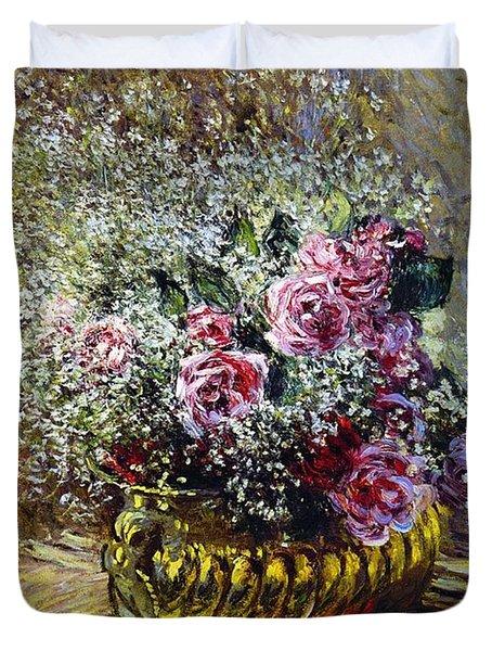 Roses In A Copper Vase Duvet Cover by Claude Monet