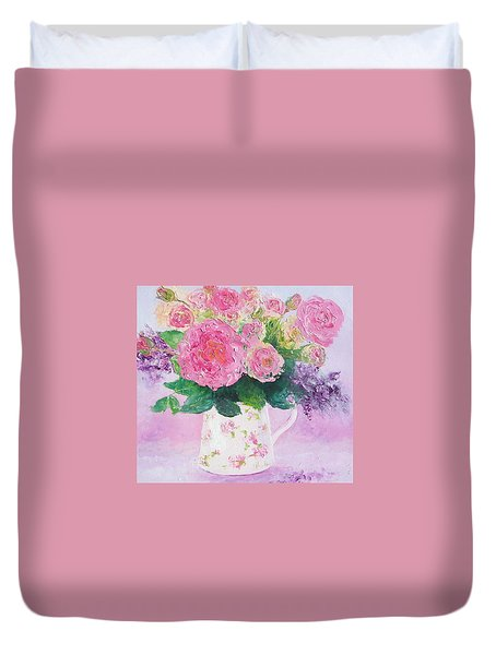 Roses In A Pink Floral Jug Duvet Cover by Jan Matson