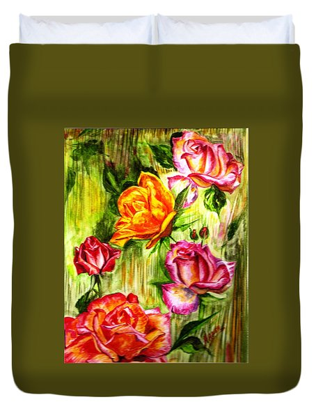 Roses In The Valley  Duvet Cover by Harsh Malik