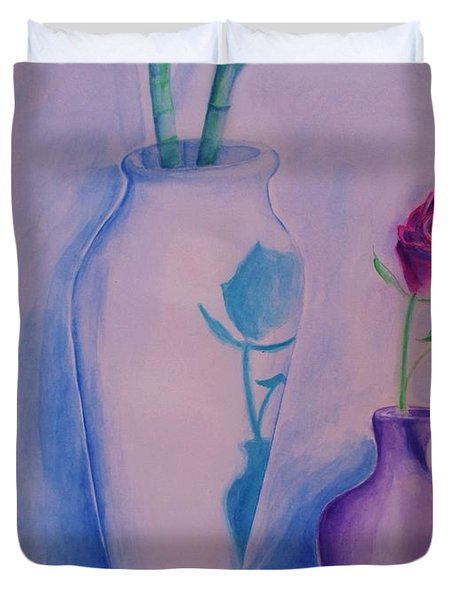 Duvet Cover featuring the painting Roses  In Vase by Eric  Schiabor