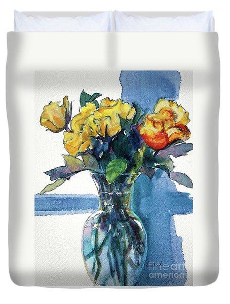 Roses In Vase Still Life I Duvet Cover