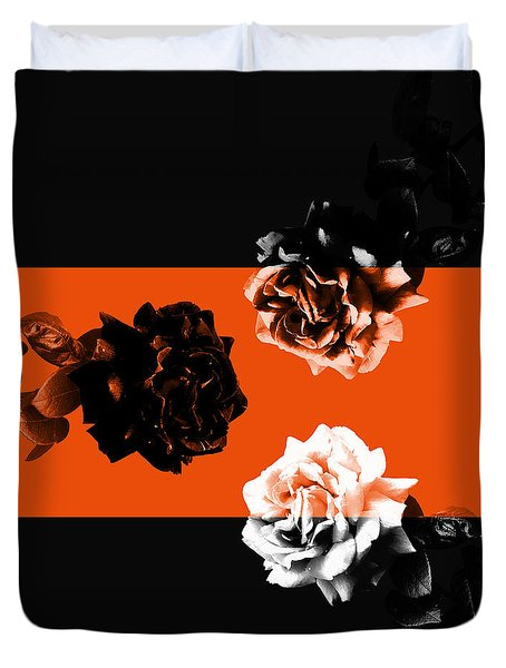 Roses Interact With Orange Duvet Cover