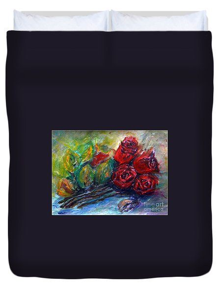 Duvet Cover featuring the painting Roses by Jasna Dragun