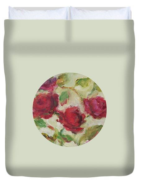 Duvet Cover featuring the painting Roses by Mary Wolf