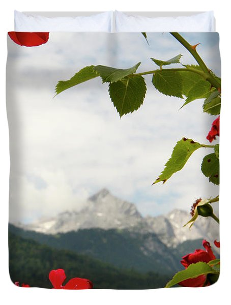 Duvet Cover featuring the photograph Roses Of The Zugspitze by KG Thienemann