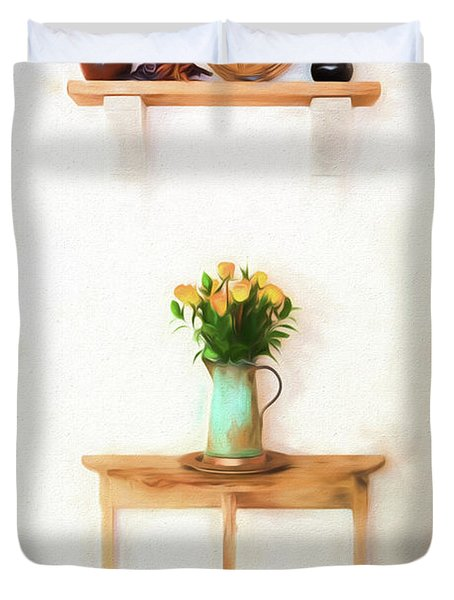 Rose's On Table Duvet Cover