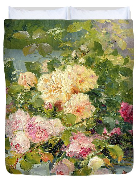 Roses On The Bench  Duvet Cover