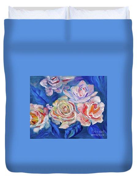 Roses, Roses On Blue Duvet Cover
