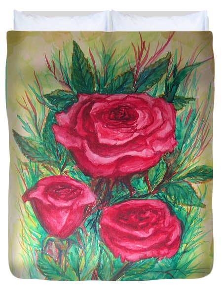 Duvet Cover featuring the painting Roses Three by Cathy Long