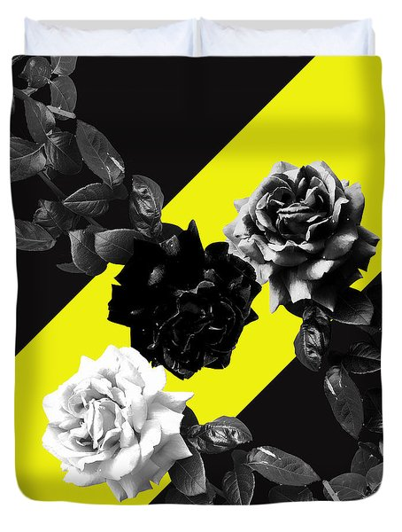 Roses Versus Yellow Duvet Cover