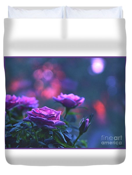Duvet Cover featuring the photograph Roses With Evening Tint by Lance Sheridan-Peel