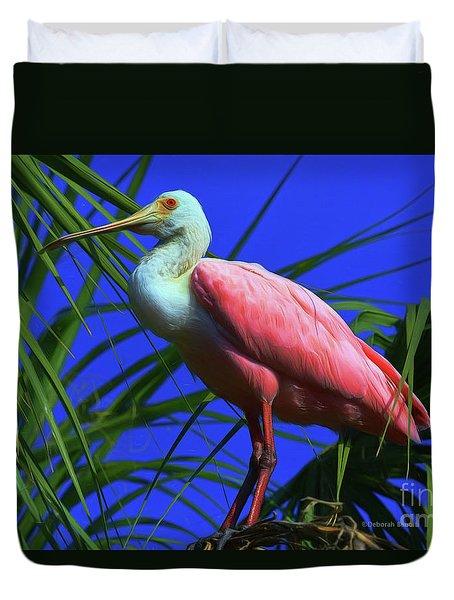 Duvet Cover featuring the painting Rosetta Spoonbill Alligator Farm by Deborah Benoit