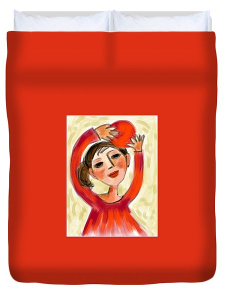 Rosie Red  Duvet Cover by Elaine Lanoue