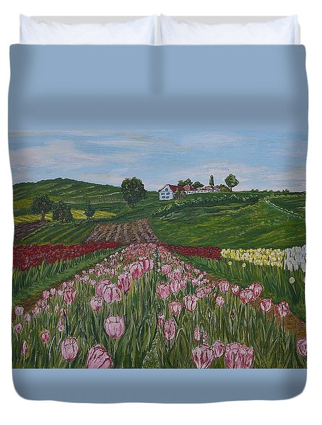 Walking In Paradise Duvet Cover by Felicia Tica