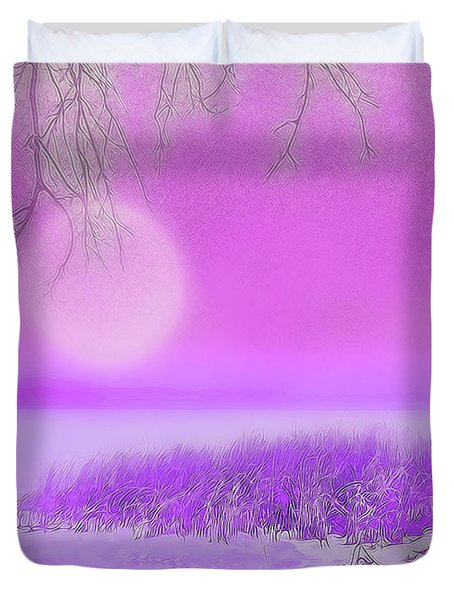 Rosy Hued Moonlit Lake - Boulder County Colorado Duvet Cover