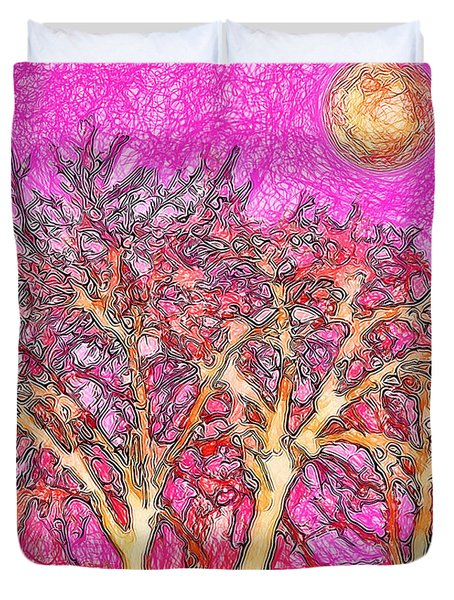 Duvet Cover featuring the digital art Rosy Hued Trees - Boulder County Colorado by Joel Bruce Wallach