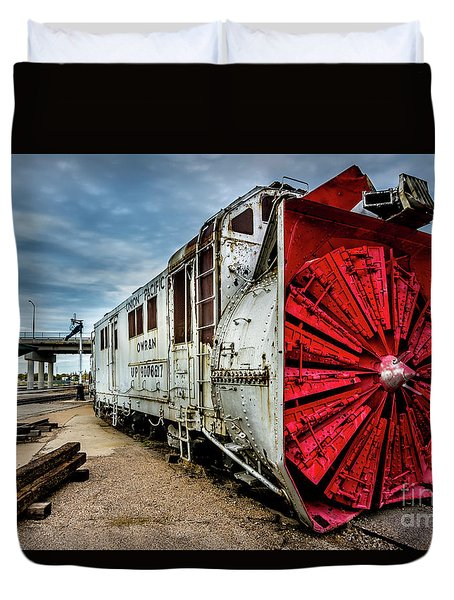 Duvet Cover featuring the photograph Rotary Snow Plow Vintage Train - Utah by Gary Whitton