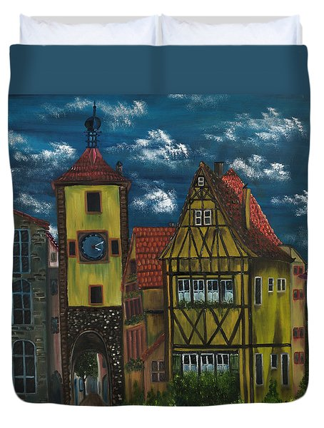Rothenburg Ob Der Tauber Duvet Cover by The GYPSY And DEBBIE