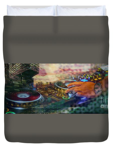 Duvet Cover featuring the digital art Rotterdam And Dj Music by Ariadna De Raadt