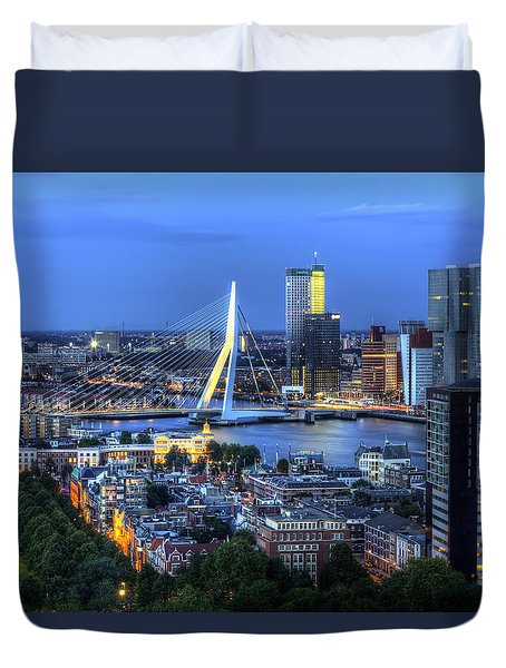 Rotterdam Skyline With Erasmus Bridge Duvet Cover
