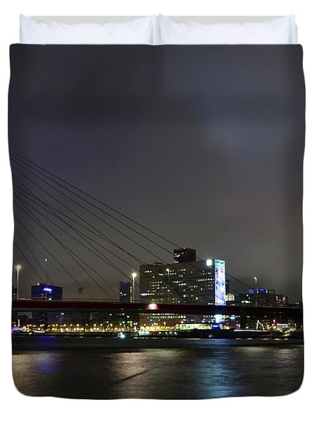 Rotterdam - Willemsbrug At Night Duvet Cover