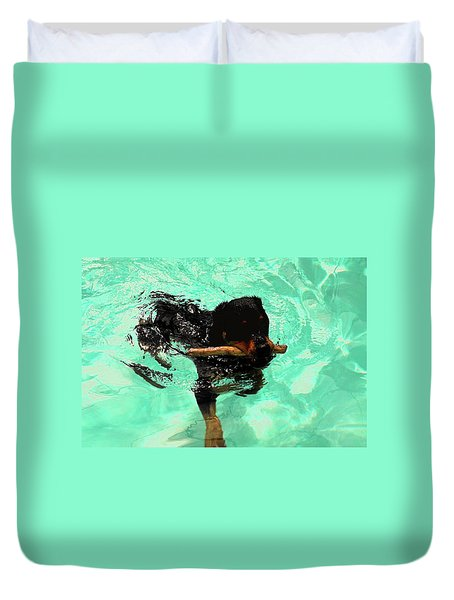 Rottweiler Dog Swimming Duvet Cover by Sally Weigand