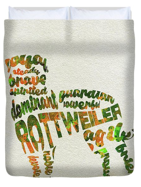 Duvet Cover featuring the painting Rottweiler Dog Watercolor Painting / Typographic Art by Inspirowl Design