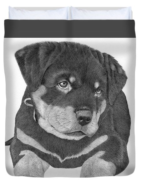 Rottweiler Puppy Duvet Cover by Patricia Hiltz