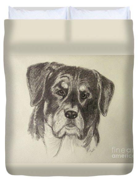 Duvet Cover featuring the drawing Rottweiler by Suzette Kallen