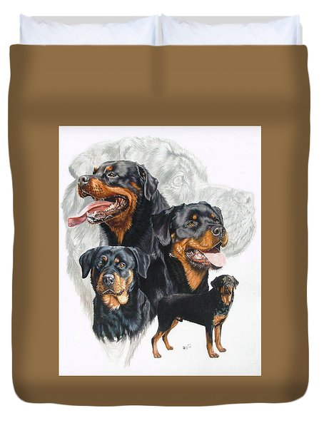 Rottweiler W/ghost  Duvet Cover by Barbara Keith
