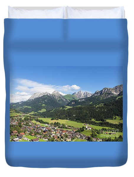 Rougemont Village In Switzerland Duvet Cover