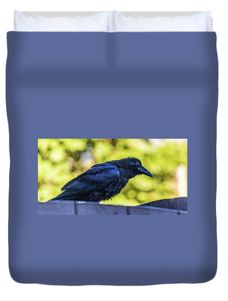 Duvet Cover featuring the photograph Rough Crow  by Jonny D