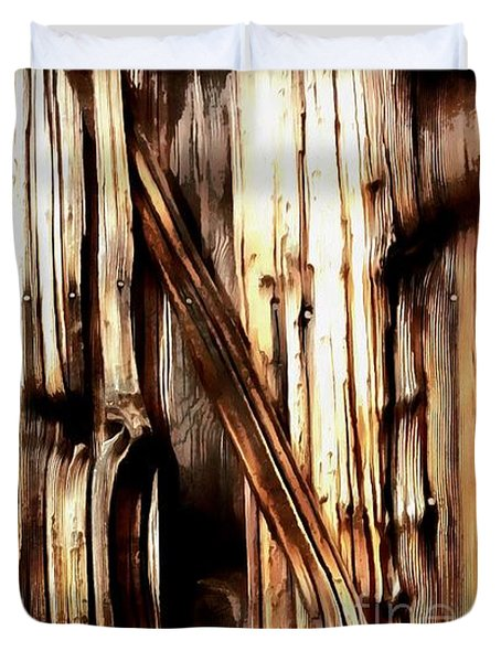 Duvet Cover featuring the painting Rough Cut - Knotted - Wood - Grain by Janine Riley