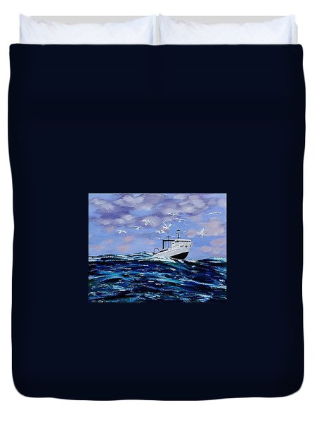Rough Day For Fishing Duvet Cover by Mike Caitham