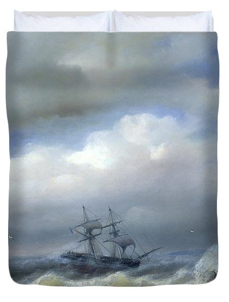 Rough Sea In Stormy Weather Duvet Cover by Paul Jean Clays