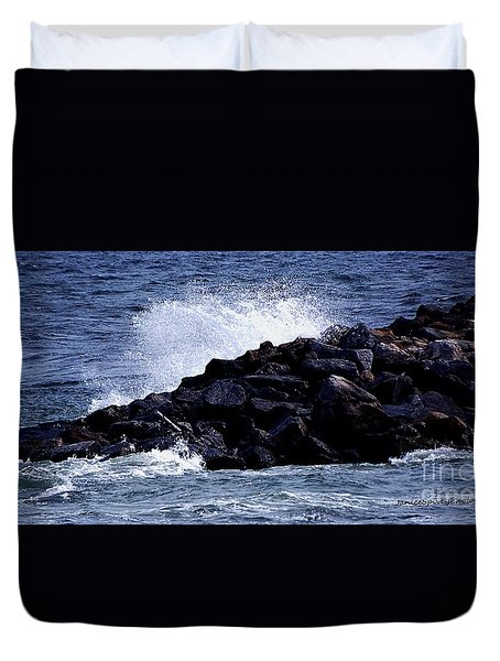 Duvet Cover featuring the photograph Rough Waters by Janice Spivey