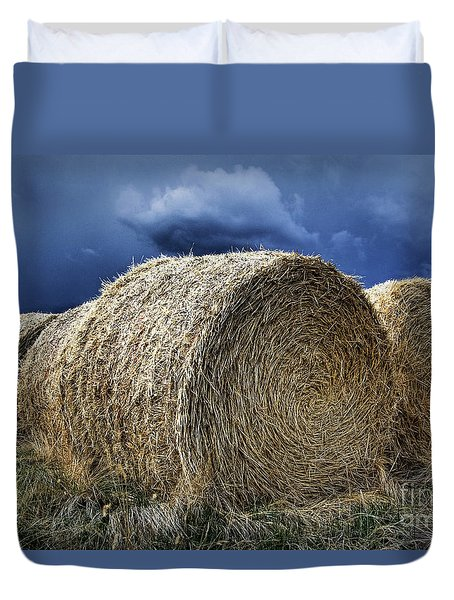 Duvet Cover featuring the photograph Round Bales by Brad Allen Fine Art