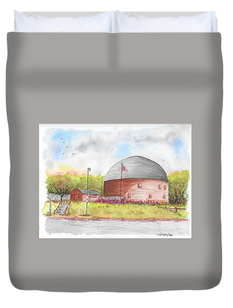 Round Barn In Route 66, Arcadia, Oklahoma Duvet Cover